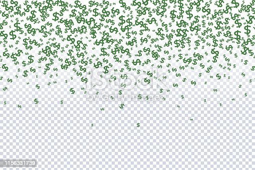 Seamless Pattern of the symbols of dollar currency.  Green vector background with signs of dollars. The pattern can be used for your ad, poster, banner of USD money.