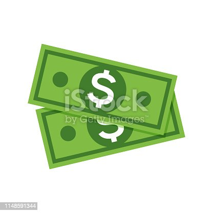 Dollar money icon. Cash sign bill symbol flat payment, dollar currency icon.