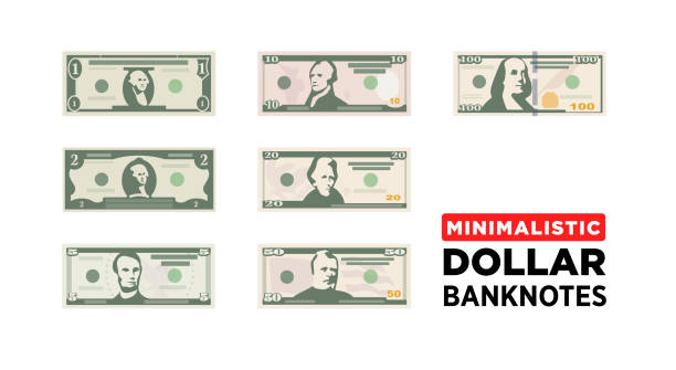 Dollar money in minimalistic style Dollar money minimalistic paper banknotes of USA - vector one size, business art illustration american one hundred dollar bill stock illustrations