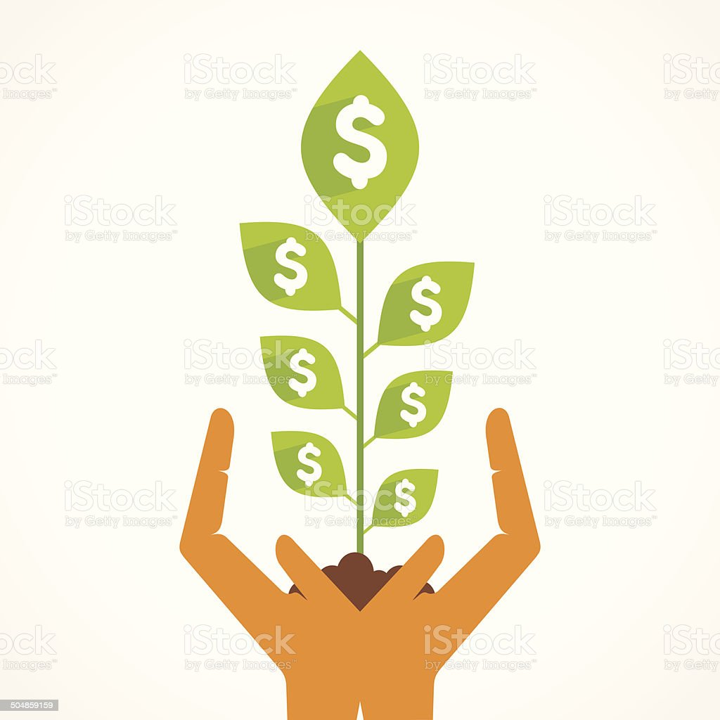 dollar money plant in hand royalty-free dollar money plant in hand stock vector art & more images of adult