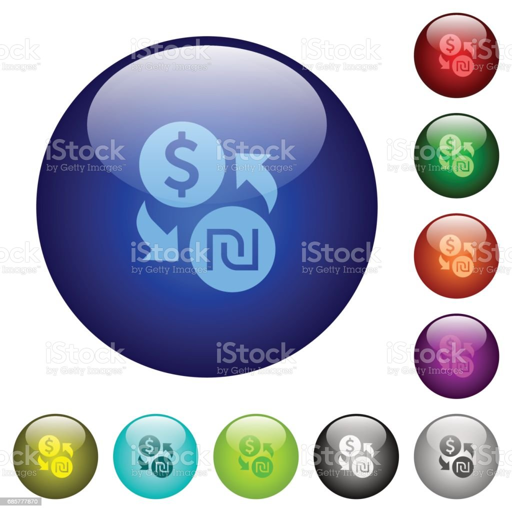 Dollar new Shekel exchange color glass buttons royalty-free dollar new shekel exchange color glass buttons stock vector art & more images of banking