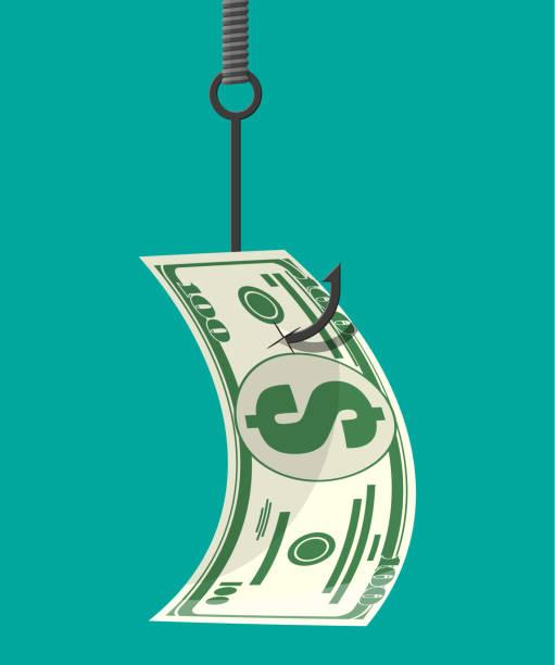Dollar on fishing hook. Money trap concept. vector art illustration