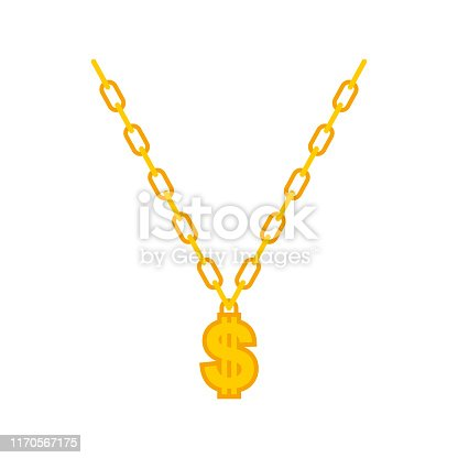 Dollar on gold chain. Rapper necklace. vector illustration
