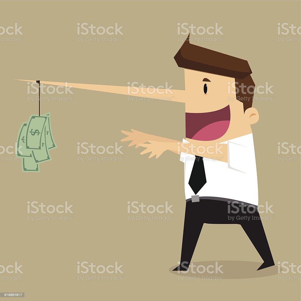 dollar on the end of businessman long nose vector art illustration