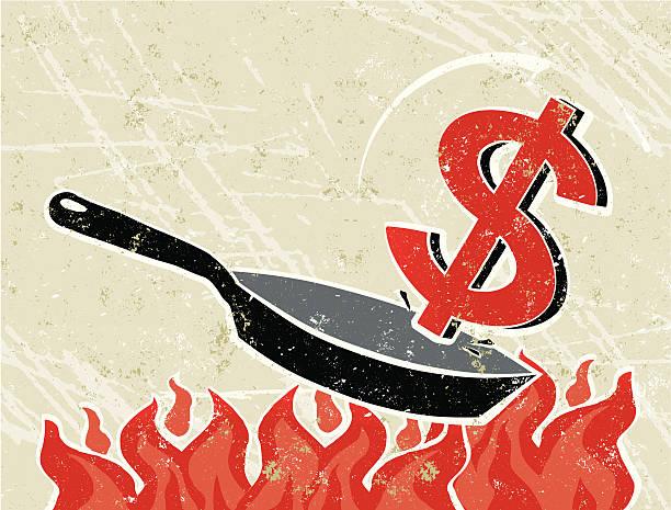 ilustrações de stock, clip art, desenhos animados e ícones de dólar em uma frigideira no fogo - fail cooking