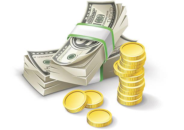 Dollar pack with coins Dollar pack with coins isolated on white background. american one hundred dollar bill stock illustrations
