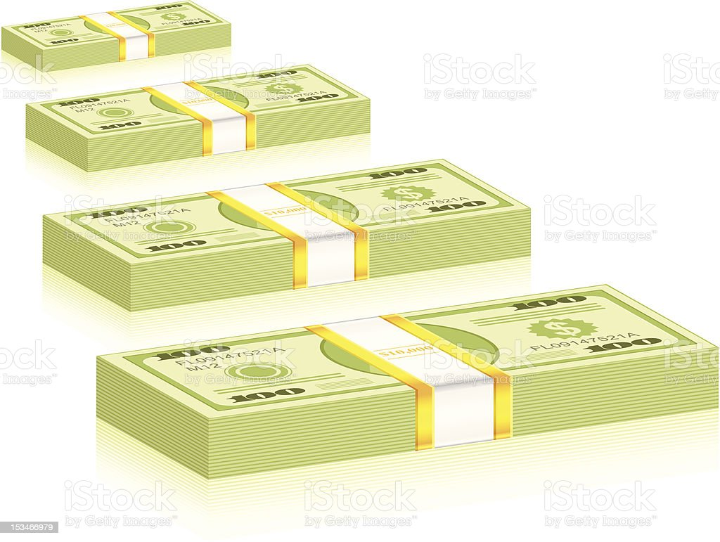 dollar packs vector art illustration