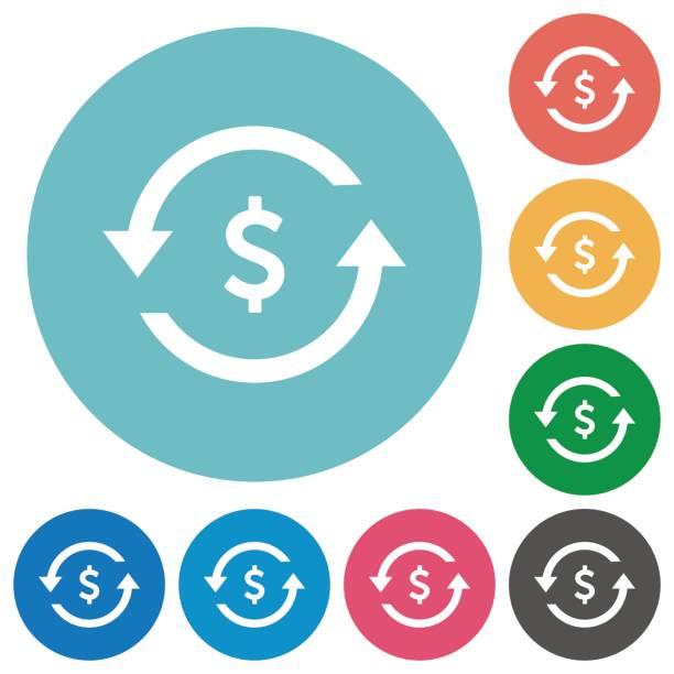 Dollar bezahlen wieder flache Runde Symbole – Vektorgrafik