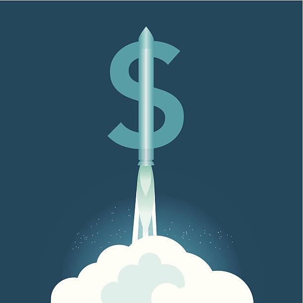Dollar Rocket vector art illustration