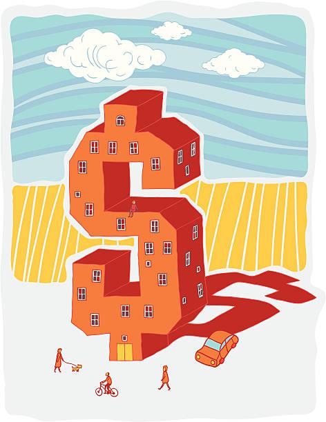 Dollar shaped building (vector illustration) vector art illustration