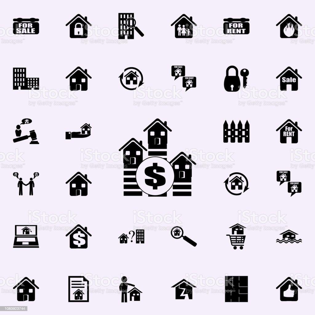 signo de dólar y el icono de casas. Conjunto de bienes raíces los iconos universales para web y móvil - ilustración de arte vectorial