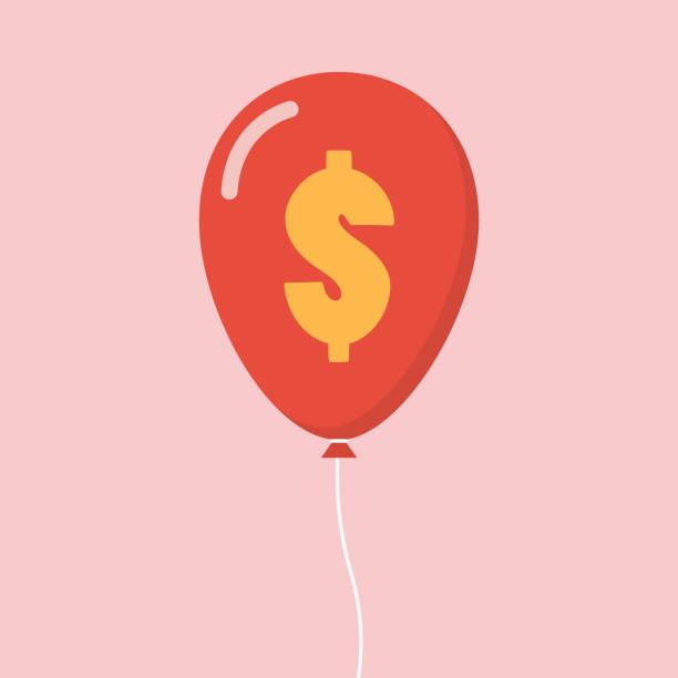 illustrations, cliparts, dessins animés et icônes de ballon de signe dollar - inflation