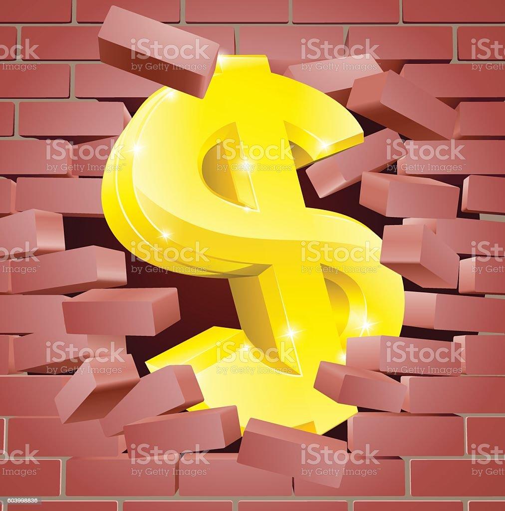 Dollar Sign Breaking Through Brick Wall stock vector art 603998836 ...