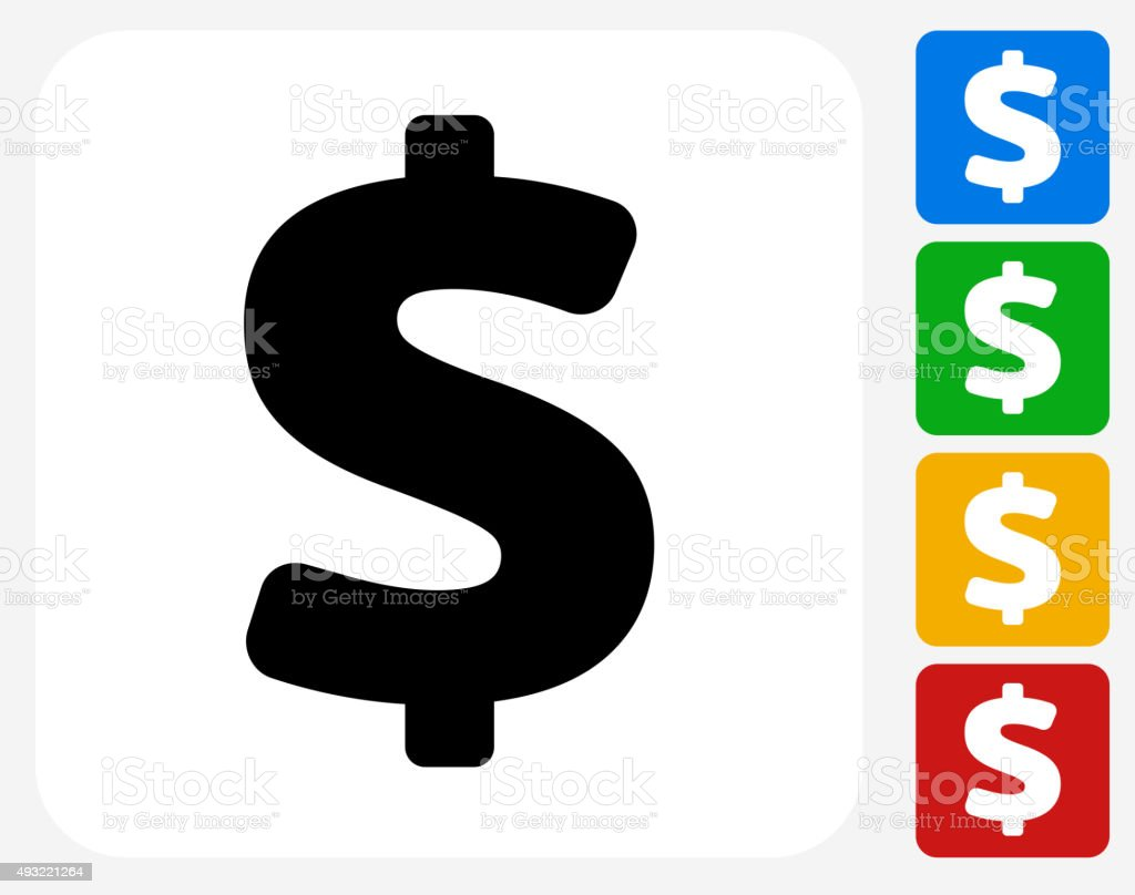 Dollar Sign Icon Flat Graphic Design vector art illustration