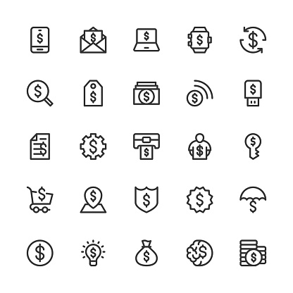 Dollar Sign Icons - Line Series