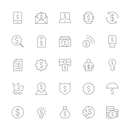 Dollar Sign Icons - Ultra Thin Line Series