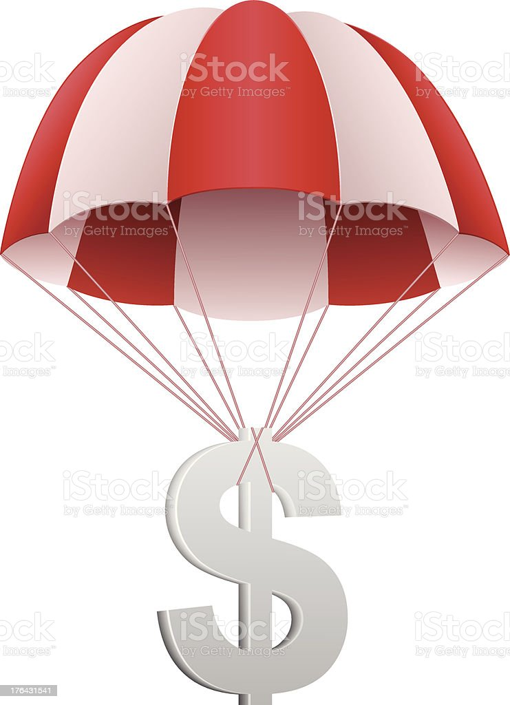 Dollar sign in parachute vector art illustration