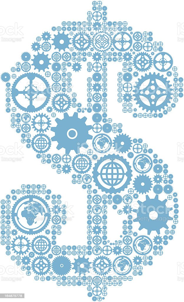 Dollar sign in the form of a gear mechanism royalty-free stock vector art