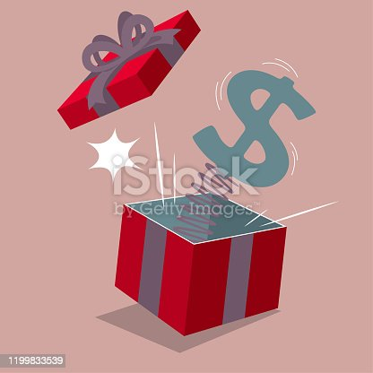Dollar sign pops up gift box. Isolated on brown background.