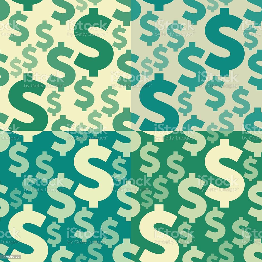 Dollar Sign Seamless Pattern Set vector art illustration
