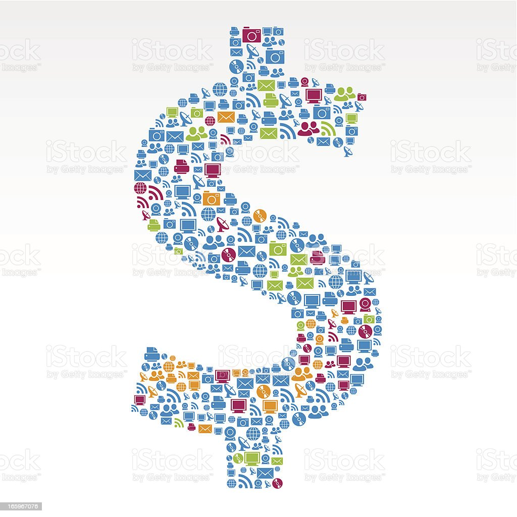 Dollar sign technology icons royalty-free stock vector art