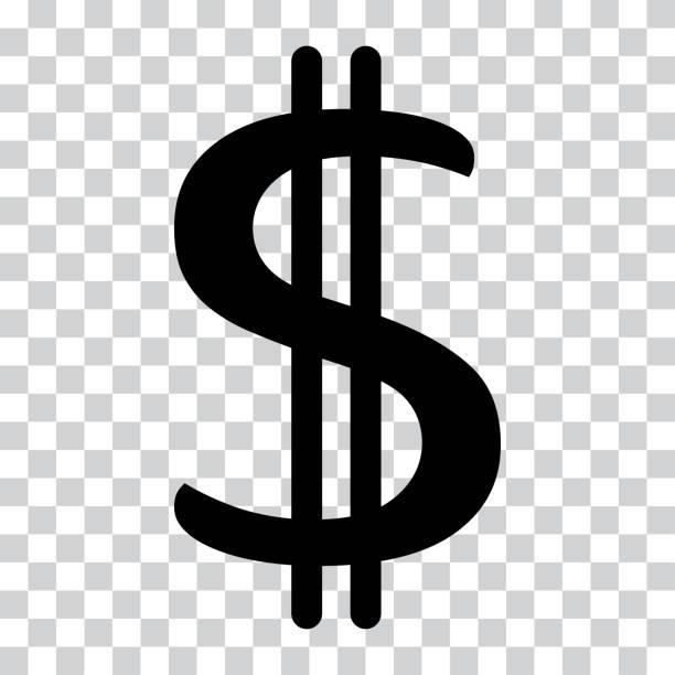 ドル記号。米ドル通貨記号。金ラベルです。透明の背景上の黒いアイコン。ベクトル図 - ドル記号点のイラスト素材/クリップアート素材/マンガ素材/アイコン素材