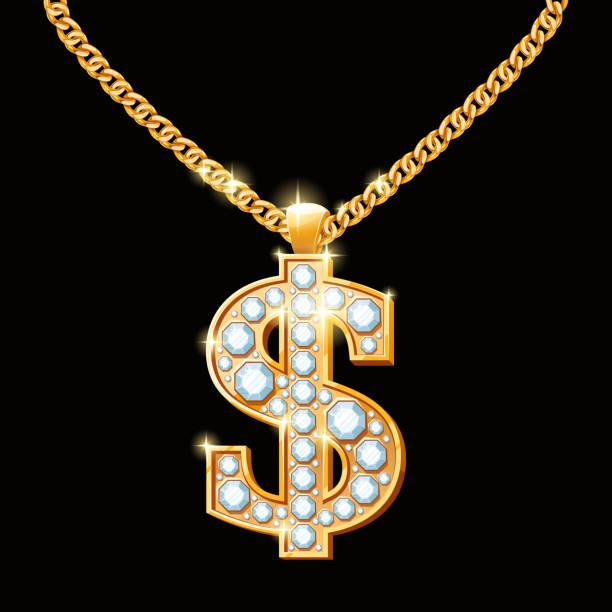 e029e193b Dollar sign with diamonds on gold chain. Hip-hop style vector art  illustration