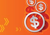 Dollar Signs and Arrows on Orange Background