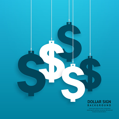 Dollar Signs Hanging On The Ropes On Blue Background Vector Stock Illustration - Download Image Now
