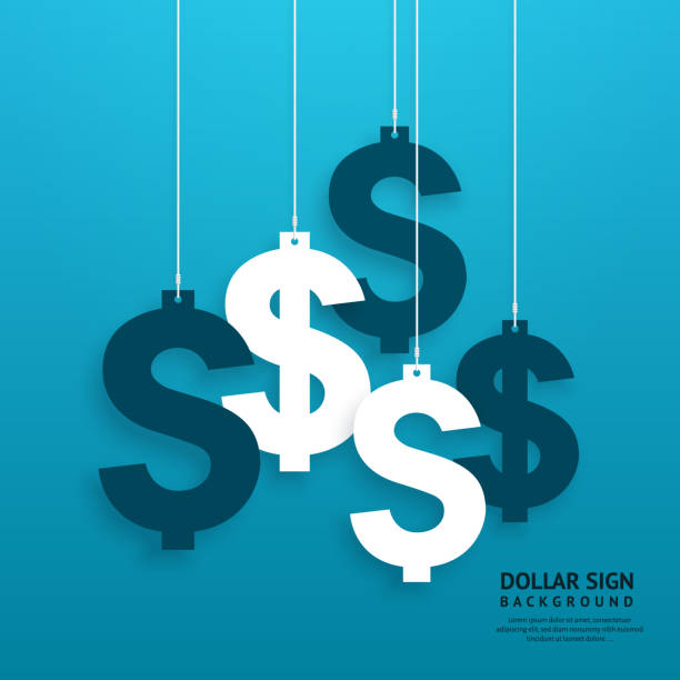 Dollar signs hanging on the ropes on blue background. Vector. Dollar signs hanging on the ropes on blue background. currency stock illustrations