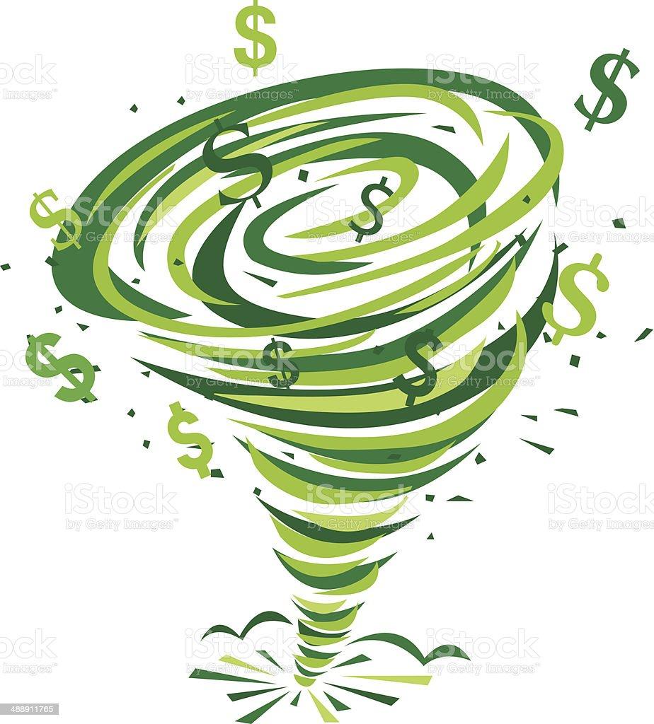 Dollar Signs Tornado vector art illustration