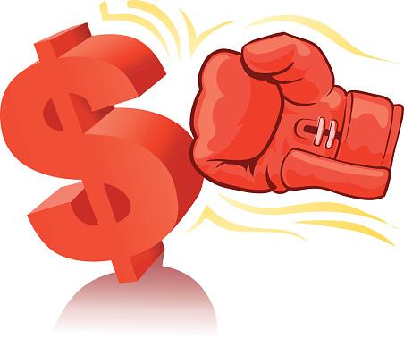 Dollar Simbol Being Hit By Boxing Glove