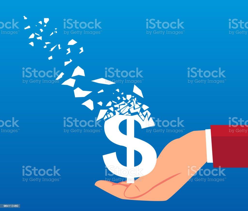 Dollar slowly vanished in businessman hands vector art illustration