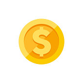 Dollar symbol on gold coin flat style