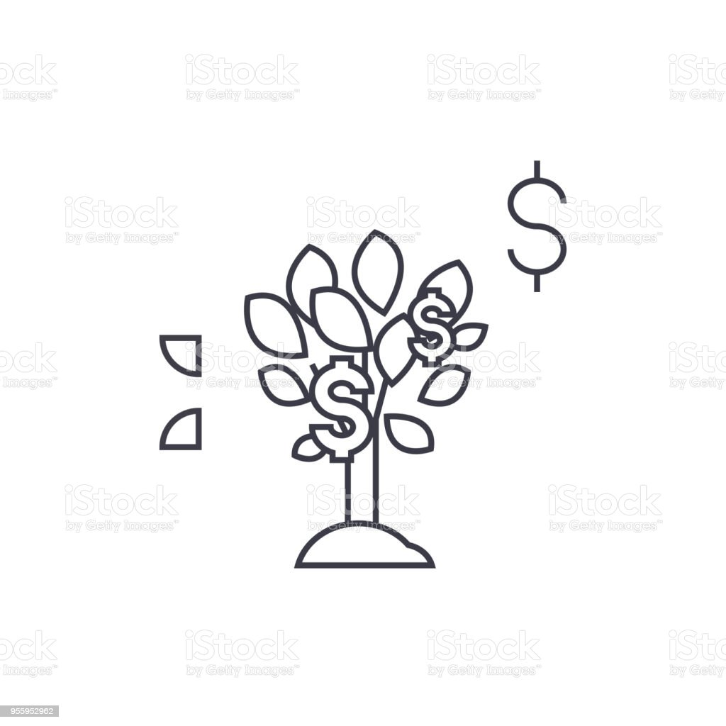 Dollar Tree Vector Line Icon Sign Illustration On Background Editable Strokes Royalty