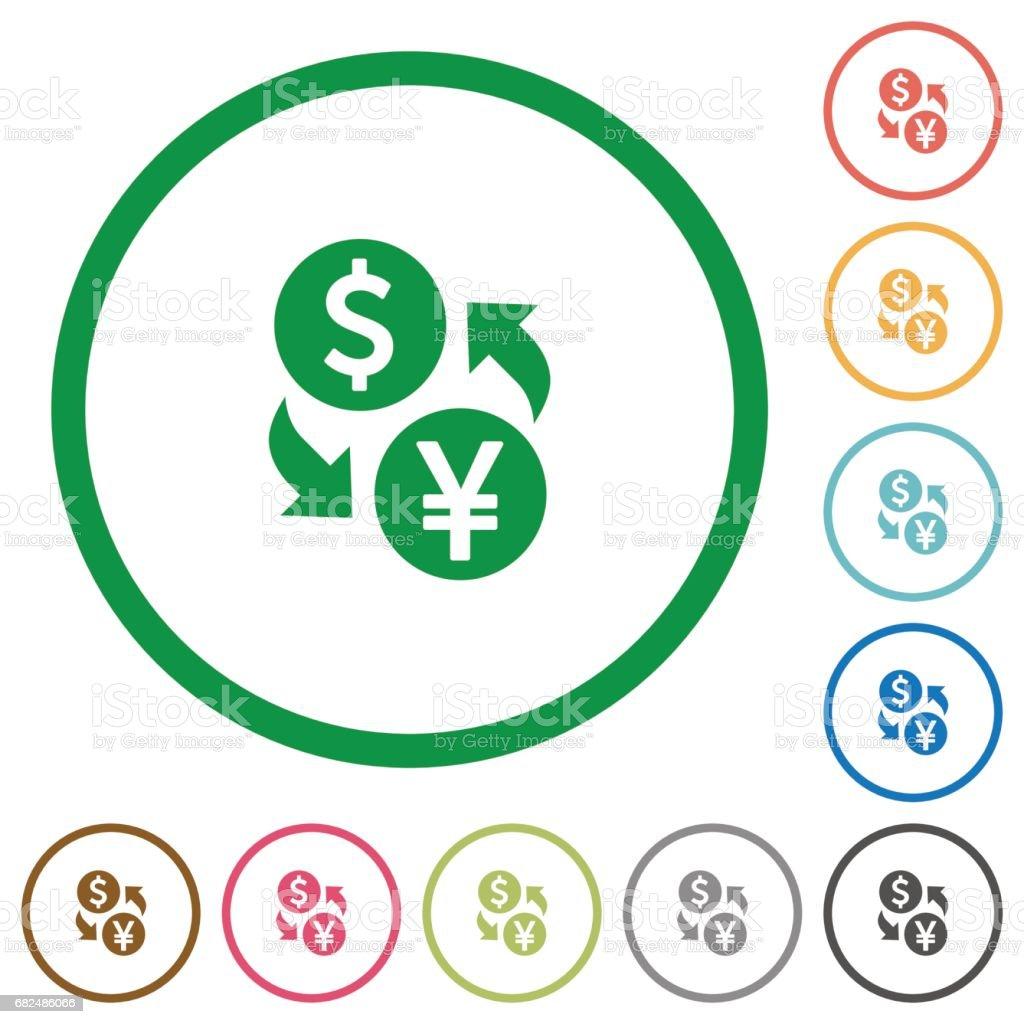 Dollar Yen exchange flat icons with outlines dollar yen exchange flat icons with outlines — стоковая векторная графика и другие изображения на тему Банковское дело Стоковая фотография