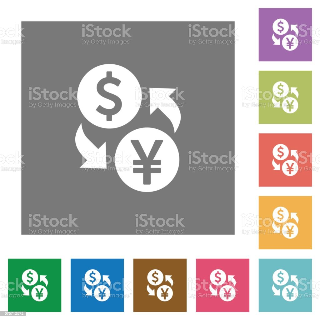 Dollar Yen money exchange square flat icons 免版稅 dollar yen money exchange square flat icons 向量插圖及更多 交換 圖片