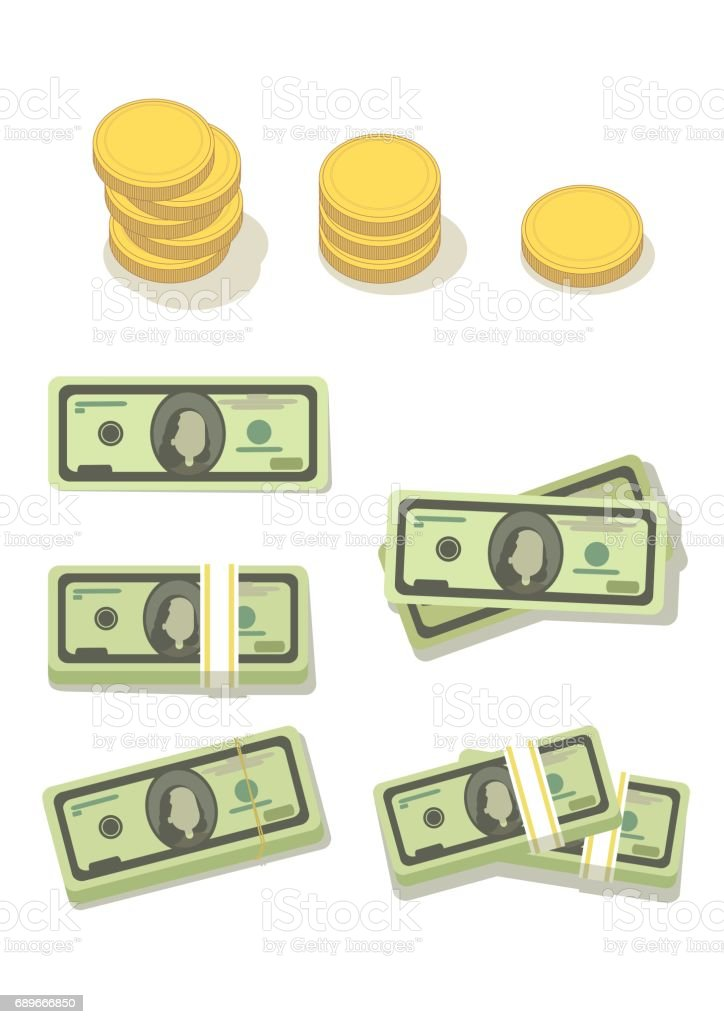 dollars and gold coins vector art illustration