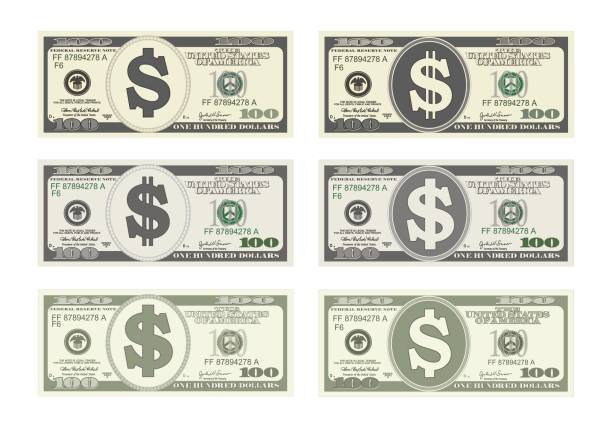 100 Dollars Banknote. 100 Dollars Banknote. Design bill one hundred dollars in six options. Suitable for discount cards, leaflet, coupon, flyer, vouchers, gift card. Vector in flat style. USD isolated on white. Horizontal. american one hundred dollar bill stock illustrations