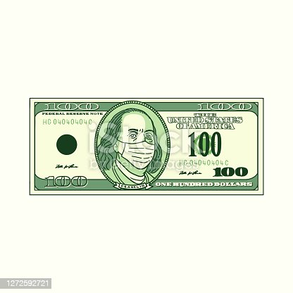 istock 100 dollars bill with face mask on, american money. 1272592721