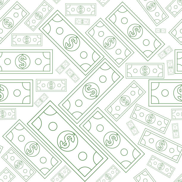 Dollars money seamless texture with line art style. Vector illustration. Dollars money seamless background texture with line art style. Vector illustration. us currency stock illustrations