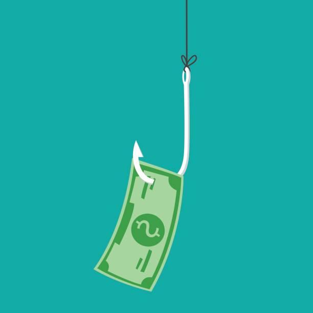 Dollars on fishing hook. Vector illustration vector art illustration