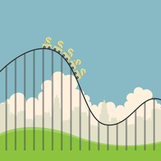ilustraciones, imágenes clip art, dibujos animados e iconos de stock de dólares en montaña rusa - roller coaster