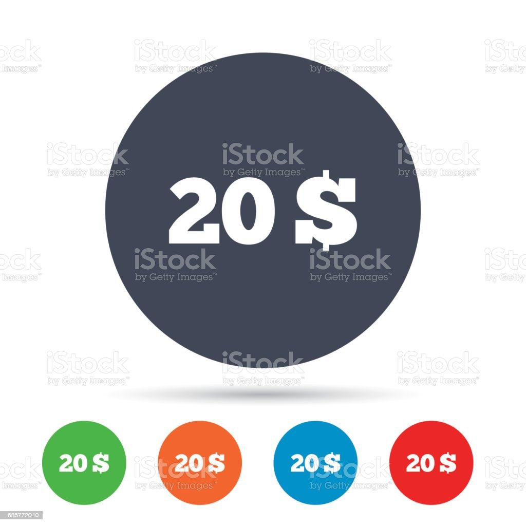 20 Dollars sign icon. USD currency symbol. royalty-free 20 dollars sign icon usd currency symbol stock vector art & more images of art
