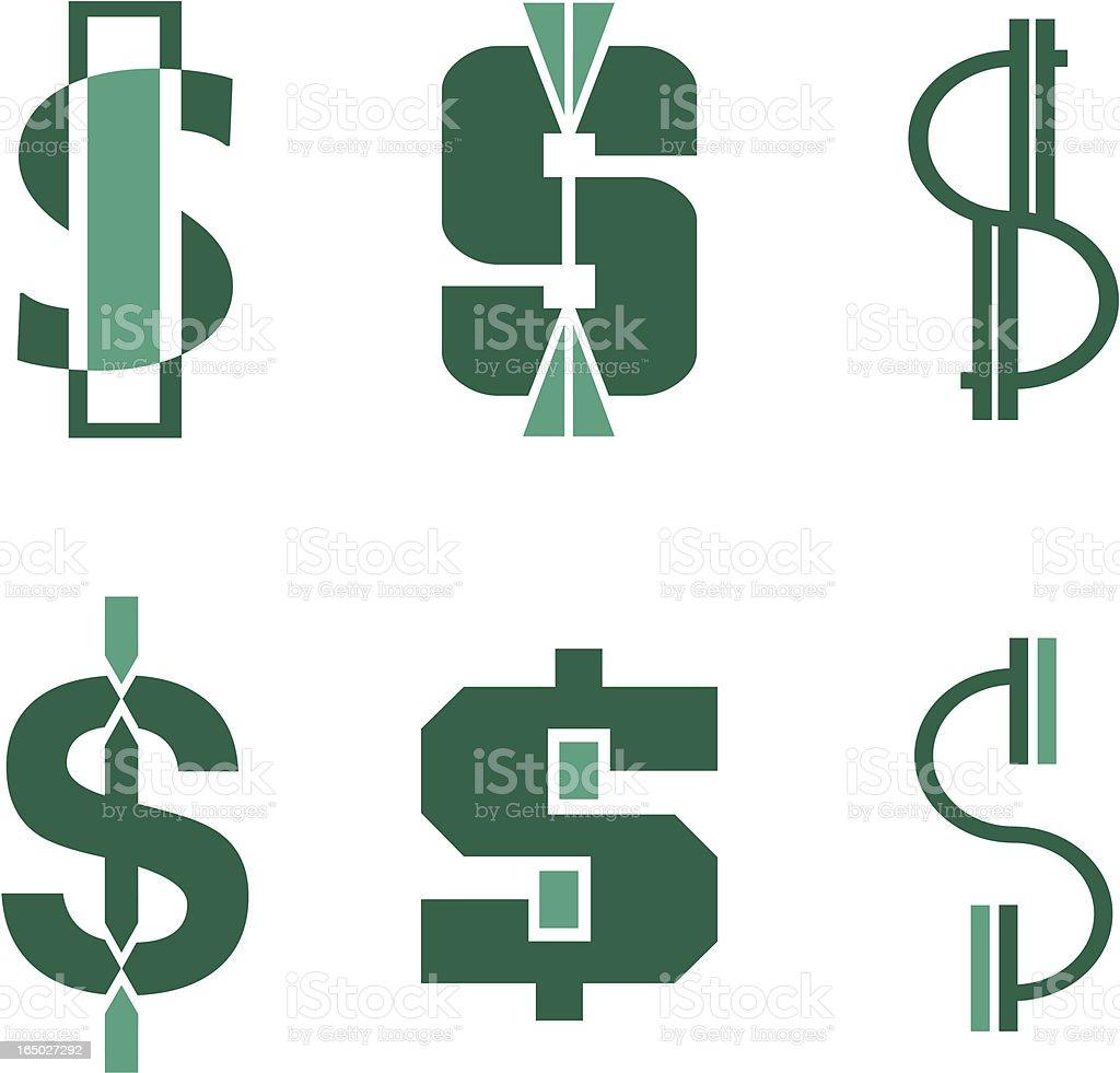 Dollarsign Symbole 2-Vektor – Vektorgrafik