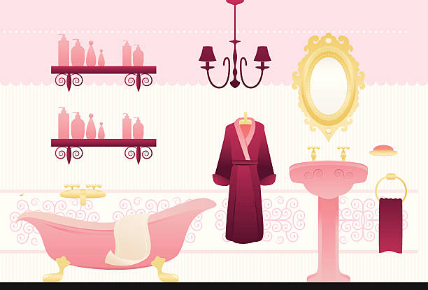 Dollhouse bath A bath interior of a dollhouse. All is pink and fancy.  dollhouse stock illustrations