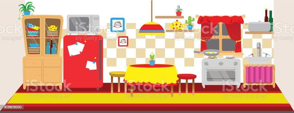 Interior De Cocina De Mu Ecas Banner Horizontal De Espalda
