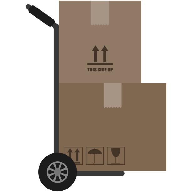 dolly or hand truck illustration - wózek transportowy stock illustrations