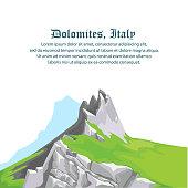 Travel dolomites,Italy. vector,illustration