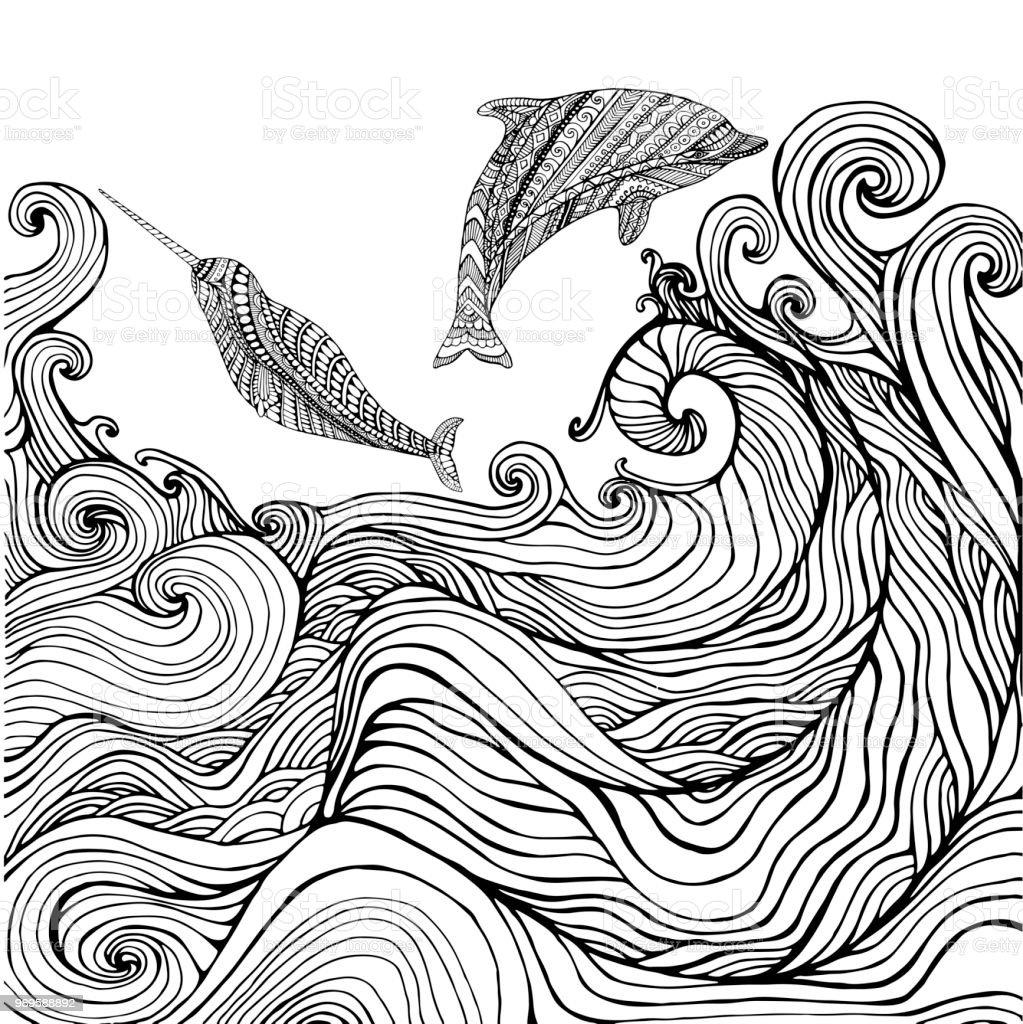 Ilustración De Delfín Y Narwhal Y Océano Olas Página Para Colorear